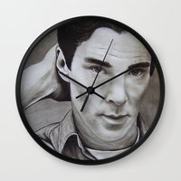benedict cumberbatch Wall Clocks featuring Benedict Cumberbatch | Sherlock by Marie | Gib