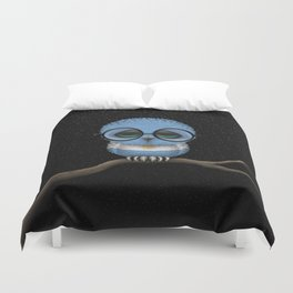 Baby Owl with Glasses and Argentine Flag Duvet Cover