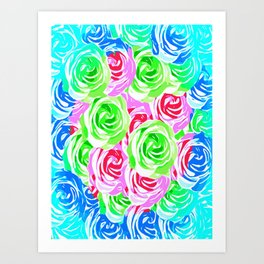 colorful rose pattern abstract in pink blue green Art Print