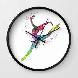 Gymnast Art Print Sports Print Watercolor Print Wall Clock