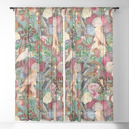 Floral and Animals pattern Sheer Curtain