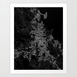 Brisbane map Australia Art Print