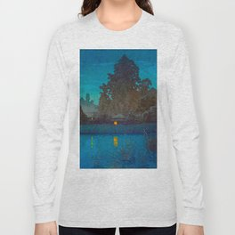 Vintage Japanese Woodblock Print Japanese Farm Village Tall Trees And Pond Long Sleeve T-shirt