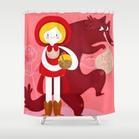 red riding hood Shower Curtains featuring Red Riding Hood by genie espinosa