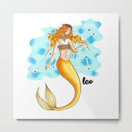 Leo Mermaid Metal Print