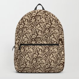 William Morris Thistle Damask, Taupe Tan and Beige Backpack