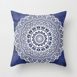 Deep Ocean Blue Mandala - LaurensColour Throw Pillow