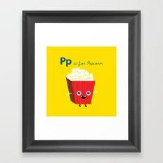 P is for Popcorn Framed Art Print