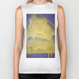 Yellow graffiti stain on gray background ready for picture, clothes, furniture, iphone cases Biker Tank