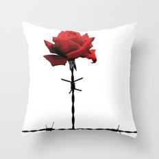 Barbed wire red rose Throw Pillow