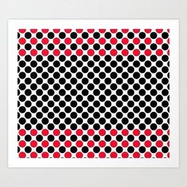 BLACK&RED POLKA DOTS Art Print