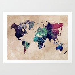 Cold World Map #map #worldmap Art Print