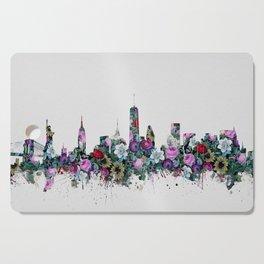 new york skyline floral Cutting Board