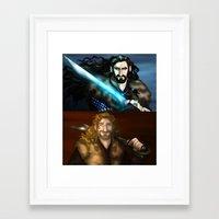 fili Framed Art Prints featuring Thorin & Fili by wolfanita