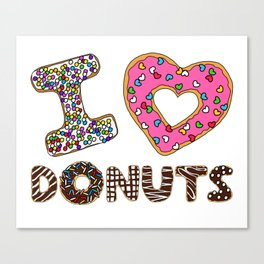 I LOVE DONUTS Canvas Print