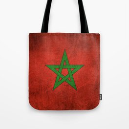 Old and Worn Distressed Vintage Flag of Morocco Tote Bag