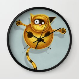Flying Fat Cat | Grey Blue Wall Clock