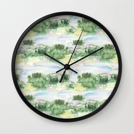 Watercolour Abstract Landscape Pattern Wall Clock