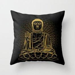 Golden Buddha on Black Throw Pillow