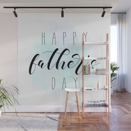 Happy Father's Day - Blue Paint Wall Mural