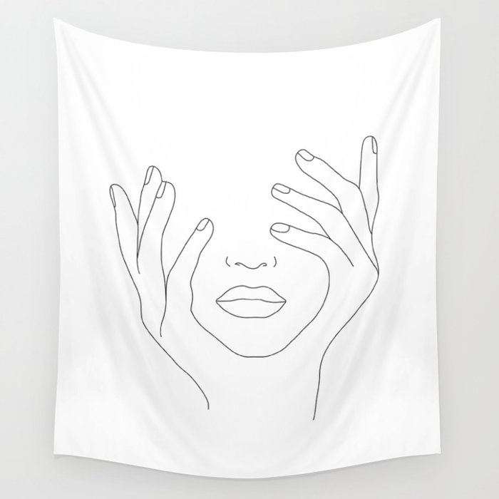 Minimal Line Art Woman with Hands on Face Wall Tapestry