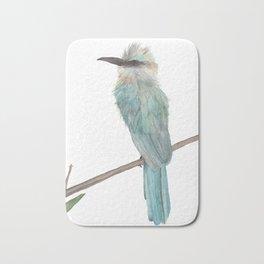 Aqua Bee Eater watercolor Bath Mat