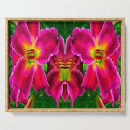 CERISE PINK LILY FLOWERS GREEN ABSTRACT Serving Tray