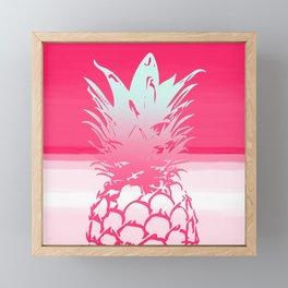 Pink Pineapple Tropical Beach Design Framed Mini Art Print