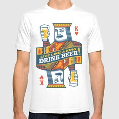 King of Beers MEDIUM White Mens Fitted Tee