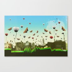 butterfly invasion with poppies Canvas Print