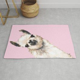 Sneaky Llama in Pink Rug