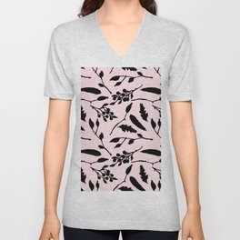 Hand painted black blush pink abstract floral Unisex V-Neck