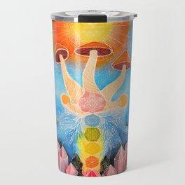 Mushroom Chakra Crystal Tapestry Rainbow Psychedelic Sacred Geometry Painting Art (Teonanacatl) Travel Mug