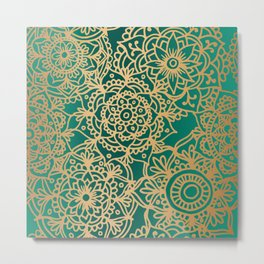 Teal Green and Gold Mandala Pattern New 2020 Metal Print