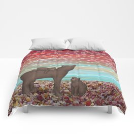 brown bears and stars Comforters
