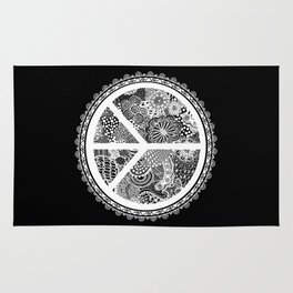 Zen Doodle Peace Symbol Black And White Rug