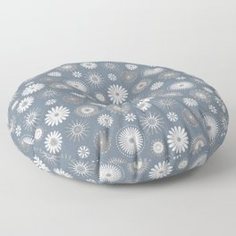 Slate Gray Pressed Country Flowers Pattern Design Floor Pillow