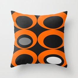 Retro Ovals Print - Orange, Black, Gray and White Throw Pillow