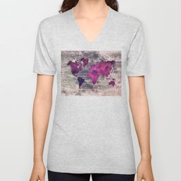 World map watercolor 7 Unisex V-Neck