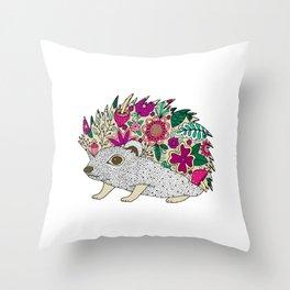 Woodland Hedgehog Illustration Throw Pillow