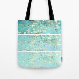 Vincent Van Gogh Almond Blossoms  Panel arT Aqua Seafoam Tote Bag