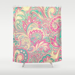 Pink Turquoise Girly Chic Floral Paisley Pattern Shower Curtain