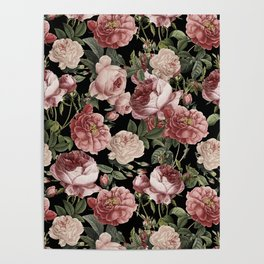 Lush Victorian Roses Poster