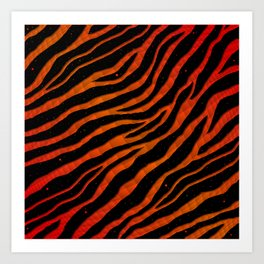 Ripped SpaceTime Stripes - Red/Orange Art Print