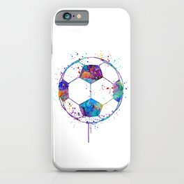 Soccer Ball Colorful Watercolor Sports iPhone Case