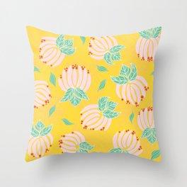 Blush Bloom Peony Lemon Throw Pillow