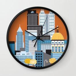 Atlanta, Georgia - Skyline Illustration by Loose Petals Wall Clock
