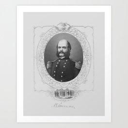 General Ambrose Burnside Engraved Portrait - Circa 1865 Art Print