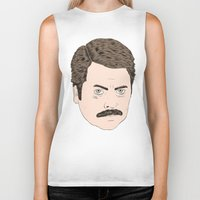 ron swanson Biker Tanks featuring Ron Swanson by Chase Kunz