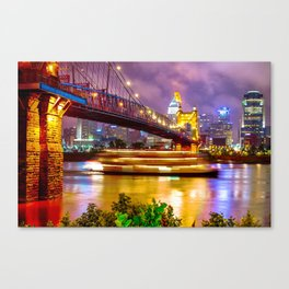 An Evening on the Ohio River - Cincinnati Ohio Canvas Print